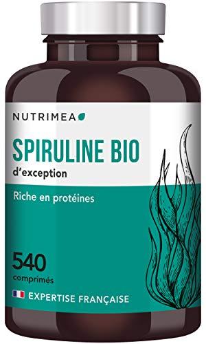 Spiruline BIO EXTRA pure certifiée AB - Sport Musculation Récupération - Antioxydants, protéines, vitamines et minéraux - 540 Comprimés 500 mg - Hautement dosé en Phycocyanine -Fabriqué en France