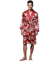 9ac02a0051e4cd BOYANN Kimono Morgenmäntel für Herren Lang Bademäntel Satin Nachtwäsche