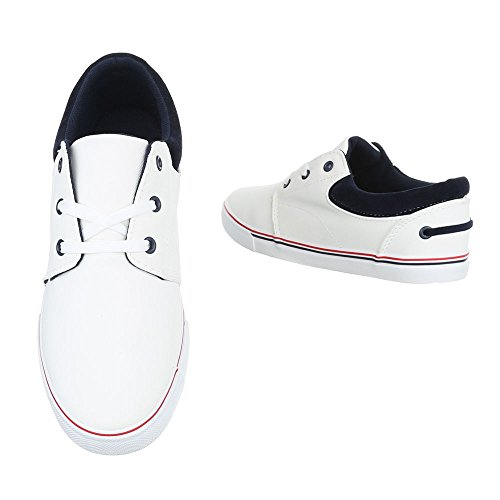 Schnürschuhe Herrenschuhe Oxford Sneakers Schnürsenkel Ital-Design Halbschuhe Weiß
