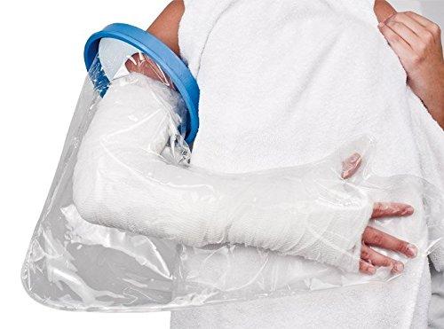 Gipsschutz Verbandsschutz für den Arm / Unterarm / die Hand # Kunststoffring mit Gummimembran zur Abdichtung am Arm # wiederverwendbar # ca. 60 cm lang # Durchmesser: ca. 17,5 cm