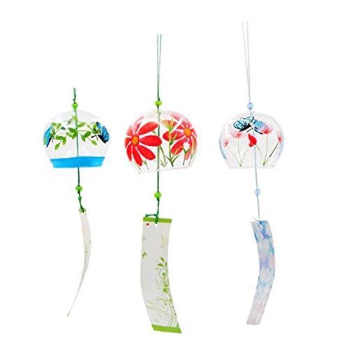 MagiDeal 3pcs Japanischer Stil Glas Windspiel Windglocke Klangspiel Garten Haus Deko Geschenke