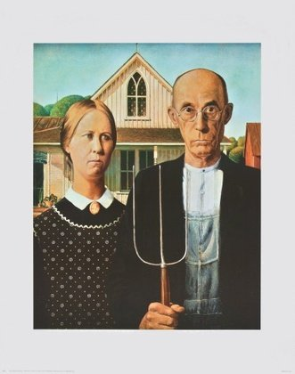 Grant Wood American Gothic Poster Bild Kunstdruck 71,2x56cm