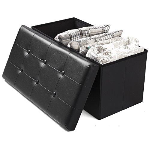 Esituro pouf contenitore sgabello pieghevole con coperchio rimovibile cassapanca portaoggetti poggiapiedi in ecopelle nero om011-a