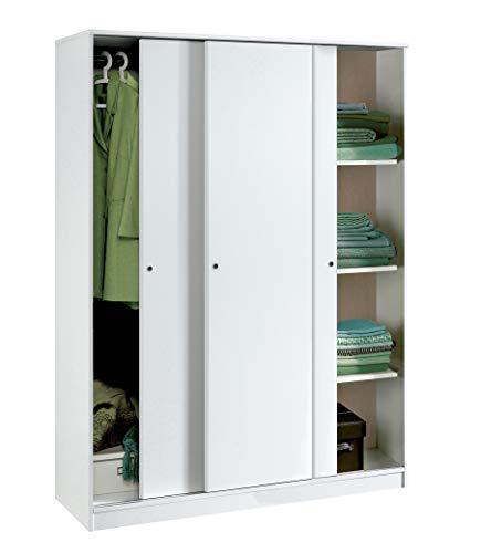Armario Color Blanco Brillo Grande de 3 Puertas correderas, estantes Regulables, Barra...
