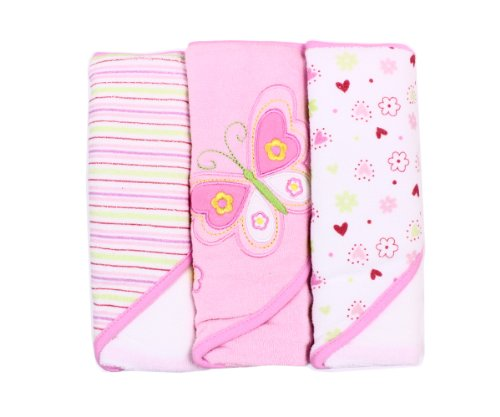 Spasilk 3 Pack Soft Terry Kapuzentuch Set – Pink (Spa Terry Hooded Roben)