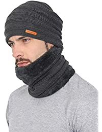 aa8998e17ee FabSeasons Unisex Acrylic Woolen Combo of Beanie Skull Cap   Muffler for  Winters with Faux