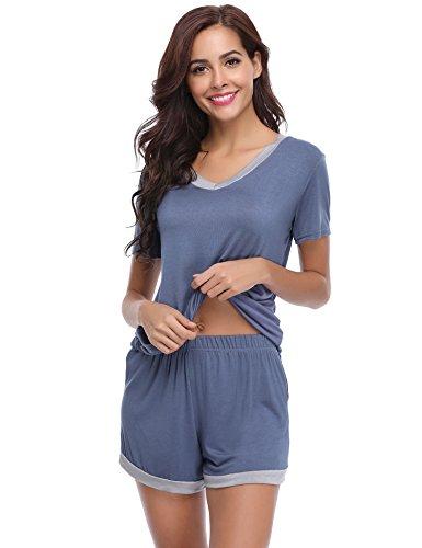 Aibrou Damen Pyjama Schlafanzug Baumwolle Kurz Nachtwäsche Nachthemd Hausanzug Kurzarm V Ausschnitt für Sommer