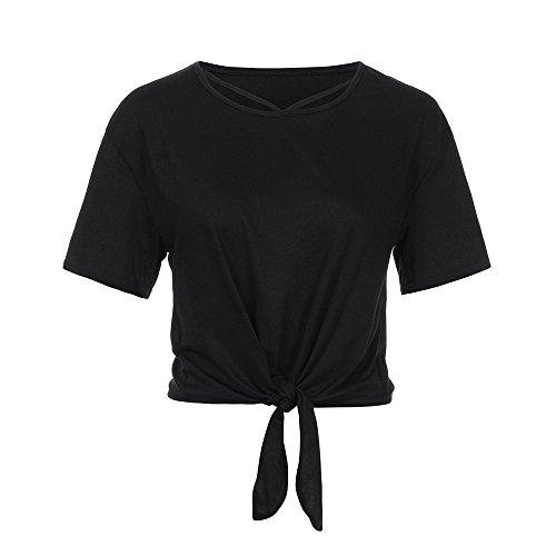 KIMODO T Shirt Damen Einfarbig Lose Bluse Sommer Kurzarm Lässig Oberteile Crop Tops mit Bandage Knot Kreuz und quer Shirt Mode ()