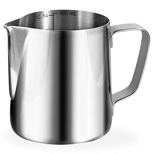 Anpro Milchkännchen 400ml / 14 fl.oz. Milk Pitcher Milchkanne aus Edelstahl, ideal für Cappuccino,...