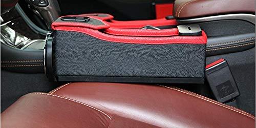 NANIH Home Car Organizer/Storage Organizer/Organizzatori per 2 Pezzi Caricabatteria USB da Auto Black Leather Car Box Vintage per Driver, 25,5 * 26 * 8,2 cm, Accessori Facili da T