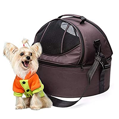 Kaka mall Multifunction Pet Carrier for Cats Puppies Dogs, Portable Pet Bed, Travel Bag, Car Seat 3 in 1 - Unique Ventilated Dome Design, Removable Fleece Mat from Kaka mall