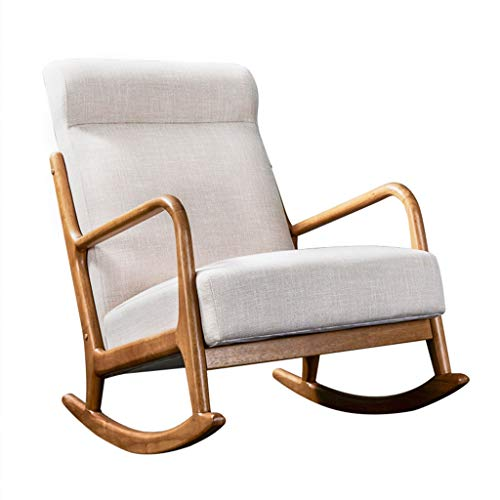 Gepolsterte Schaukelstuhl (HYYTY-Y Einzelsofa Schaukelstuhl, erhöhte Rückenlehne mit Fußschemel Lounge Chair 708-YY (Size : A))