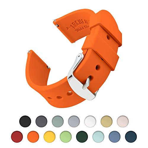 Uhrenarmband von Archer Watch Straps | Silikon Uhrenband mit Schnellverschluss für klassische Uhr und Smartwatch | Orange, 22mm (Uhr Fossil Herren Orange)