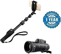 captcha Selfie Monopod Stick with Bluetooth Remote Controller with 18X62 Portable Monocular Telescope Compatible (1288.Selfie+Panda.Lens)