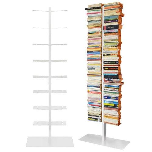 Radius - Bücherregal - booksbaum double stand gross weiß, 3tlg. best.aus: Halterung + Fuß + Einlegeböden -
