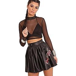 Moda Rivet Studded Mini de Corte PU Patent Piel Sintética Cuero del Faux Flor de Flores Bordados Pliegues Plisado A-Line en línea Skater Plisado Skirt Falda Negro