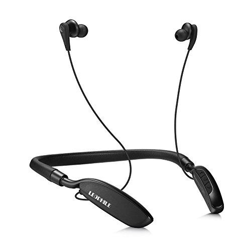 LEOPHILE ZERO Écouteurs Intra-auriculaire à Réduction de Bruit Active, Bluetooth 4.1 sans fil casque avec Stéréo tour de cou avec 20 heures de lecture Micro intégré – Noir