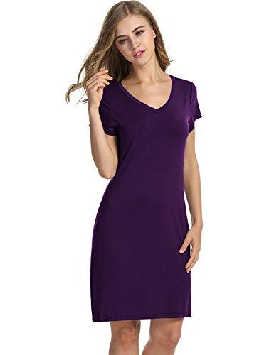 Avidlove Damen Kleid Nachthemd Schlafanzüge Nachtwäsche Negligees Kurzarm kurz Dessous Reine Farbe