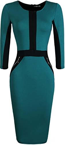 Jeansian Femme Cocktail Party Dress Sexy Fashion Crayon Casual Slim Dress Robe WKD176 green
