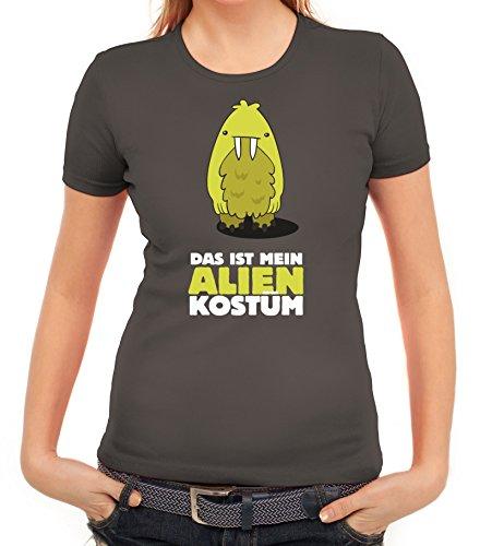 Fasching Karneval Damen T-Shirt mit Das ist mein Alien Kostüm 8 Motiv von ShirtStreet Dunkelgrau