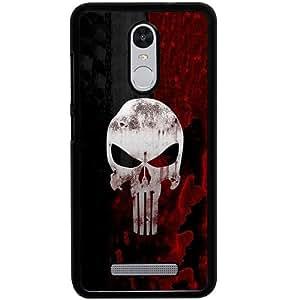 Casotec Punisher Skull Design 2D Hard Back Case Cover for Xiaomi Redmi Note 3 - Black