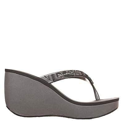 IPANEMA infradito donna grey/black con zeppa cm 8 plateau cm 3 mod 81936 BOLERO 100% caucciù MADE IN BRAZIL (EU 38 USA 7.5 UK 5)