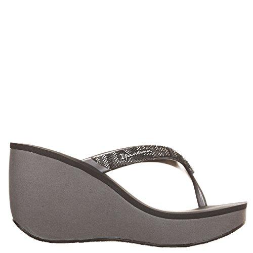 IPANEMA infradito donna grey/black con zeppa cm 8 plateau cm 3 mod 81936 BOLERO 100% caucciù MADE IN BRAZIL (EU 41/42 USA 9,5 UK 7.5)