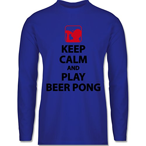 Festival - Keep Calm And Play Beer Pong - Longsleeve / langärmeliges T-Shirt für Herren Royalblau