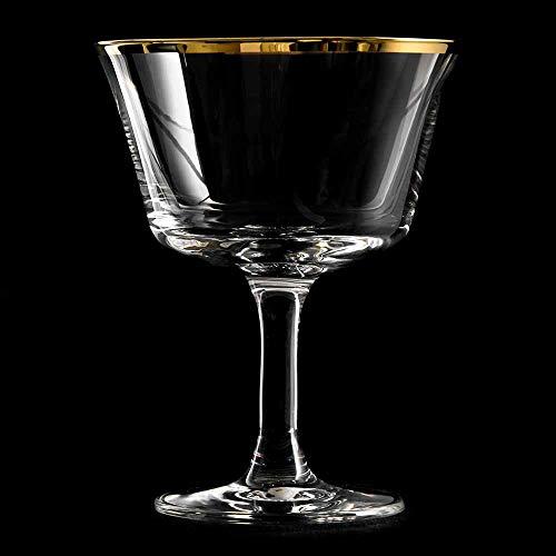 Urban Bar Retro Gold Rim Fizz Cocktail Glasses 7oz / 200ml - Set of 6 - Vintage Glassware
