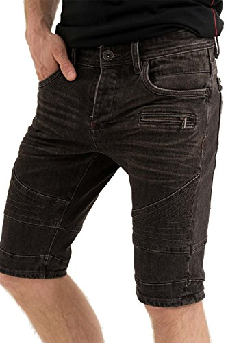 trueprodigy Casual Herren Marken Jeans Shorts mit Stretch, kurze Hose cool und stylisch Denim vintage (destroyed & Slim Fit), Jeans für Männer, Farben:Schwarz, Größe:W29