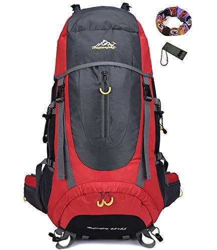 Onyorhan 70L Viaggio Zaino Trekking Escursionismo Alpinismo Arrampicata Campeggio per Uomo Donna (rosso)