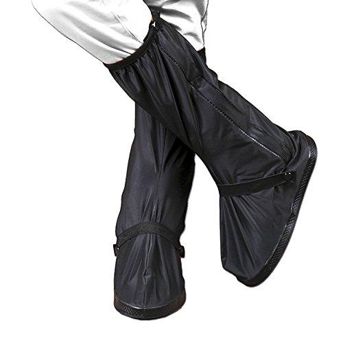 KT-SUPPLY mit Netzteil Herren Gummistiefel Wasserdicht Füße Schuhe Rutschfeste Überschuhe Regen Stiefel Golf Schuhe Displayschutzfolie für Erwachsene XXL Schwarz (Wasserdicht Herren Schuh Golf)