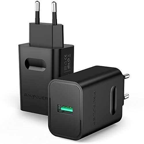 USB Ladegerät RAVPower 2-Pack 24W USB Ladeadapter mit Quick Charge 3.0 und iSmart 2.0 Technologie für Galaxy S9 S8 S7 Plus, HTC One A9 M9, iPhone X XS XR XS Max 8 7 6 Plus, iPad Pro Air Mini, MP3 usw.