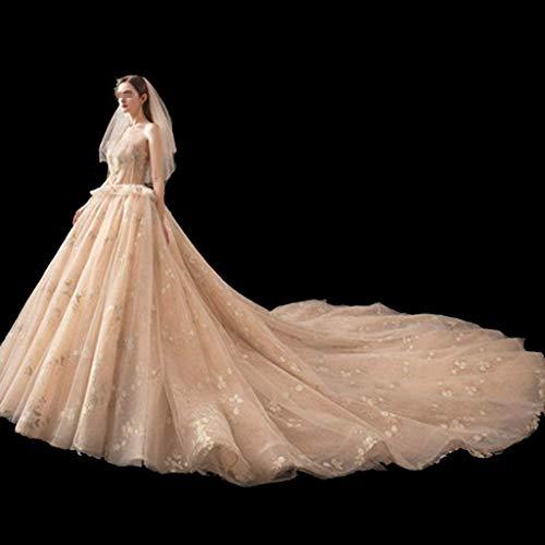 Stilvolle Einfachheit Hochzeitskleid - Damen Mesh Gaze Halfter Kleid Abendkleid Hochzeit, L-F, XX-groß -