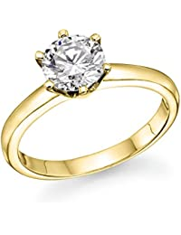 1/2 ct. Round Diamond Solitaire Engagement Ring in 18k Yellow Gold