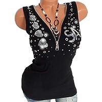 Camisetas sin Mangas Mujer SHOBDW Verano Playa Mar Taladro Caliente Cremallera Cuello En V Blusa Pull