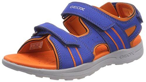 Geox j gleeful b, sandali punta aperta bambino, blu (royal/orange), 26 eu