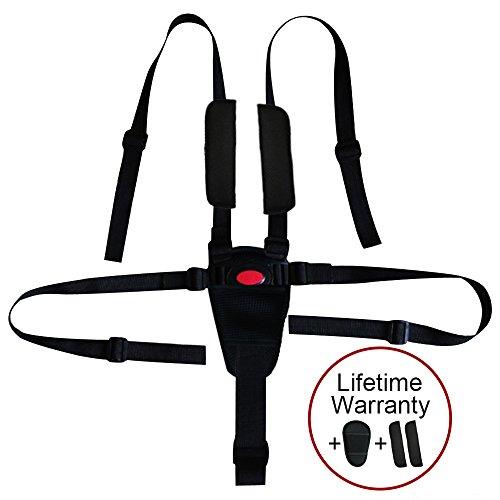 Cinturón por Zama, 5/3/2 punto ajustable para bebé Kid Safe para silla de paseo silla de alta (incluye correa de hombro almohadillas y guardia pad) (Negro Guardia Pad)