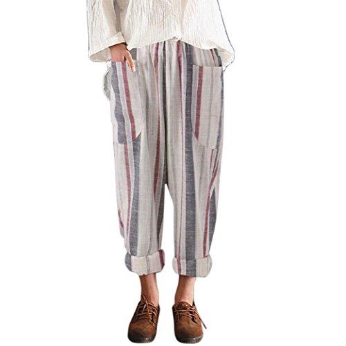 Damen Hosen cinnamou Sommerhosen Frauen lose Hosen hohe Taille Vintage  gestreifte Baumwolle Lange Hosen Hosen Damen Gummizug Leichte Leinenhose 5dede1e98a