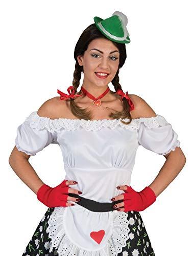 costumebakery - Damen Frauen Kostüm Schulterfreie Dirndl Bluse mit Pump-Ärmel, Tirol Shirt, perfekt für Das Oktoberfest Karneval und Fasching, L/XL, - Mia Kostüm Schmuck