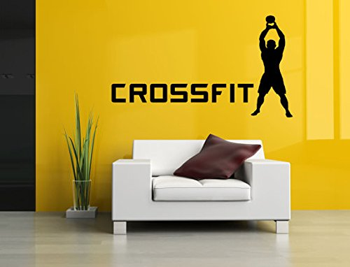 CVANU Removable Vinyl Sticker Mural Decal Wall Decor Poster Art Crossfit Bodybuilding Fitness Center Sport Gym Lift Fit Workout Phrase Quote