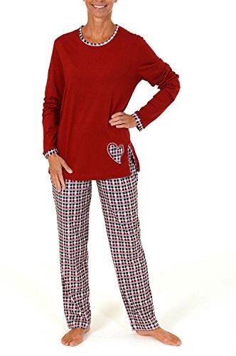 Damen Pyjama lang mit karierter Hose und Herz Applikation - auch in Übergrössen bis 60/62 Rot