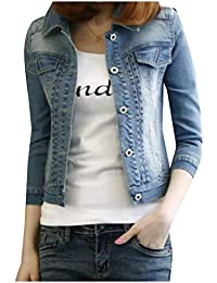 443b4942b38 Abetteric Womens 3 4 Sleeve Botton Front Slim Fit Denim Jacket