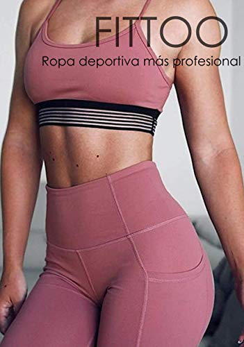 FITTOO Mallas Leggings Mujer Pantalones Deportivos Yoga Alta Cintura Elásticos Transpirables Rosa XL