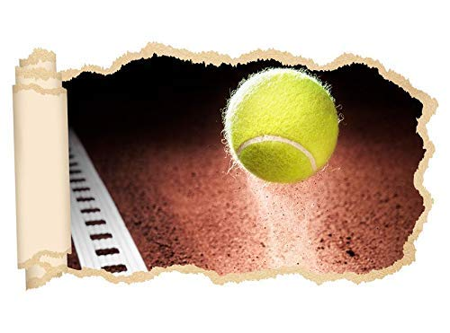 3D Wandtattoo Tennisball im Spiefeld Tennis Sport Tapete Wand Aufkleber Wanddurchbruch Deko Wandbild Wandsticker 11N2216, Wandbild Größe F:ca. 162cmx97cm