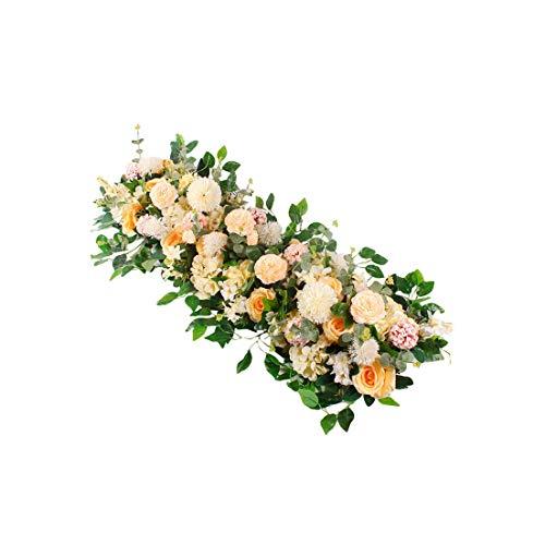 Gezellig Vesper 1M Silk Rose Peony Hydrangea Zitiert künstliche Blumen für Hochzeit Home Decoration Reihe Arch Tür Fake Flowers Garland, 12-7