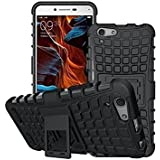 BlueInk Defender Case for Vivo Y53 Dual Layer Tough Rugged Shockproof Hybrid Warrior Armor Case Back Cover With Kickstand / Black