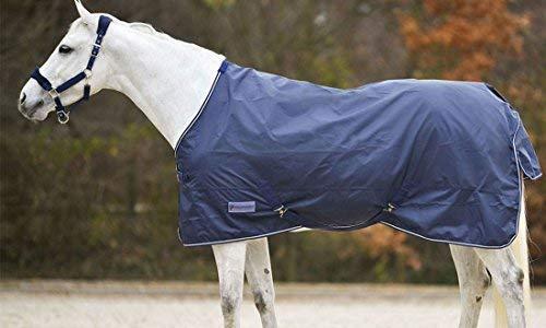 Regendecke mit Deckengurten und Schweiflatz, wasserdicht und atmungsaktiv dunkelblau