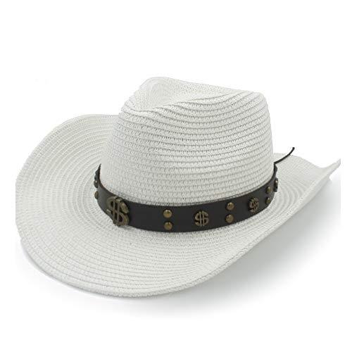 XXY Kappe Sonnenhut Raffia Hut Damen Sonnencreme Herren Leder mit Metall-Dollar-Muster dekorative Niet Strohhut Cowboy-Hut beiläufig (Farbe : Weiß, Größe : 58 cm)