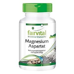 Magnesiumaspartat mit 60mg Magnesium, organische Verbindung, hohe Bioverfügbarkeit, 150 vegetarische Kapseln
